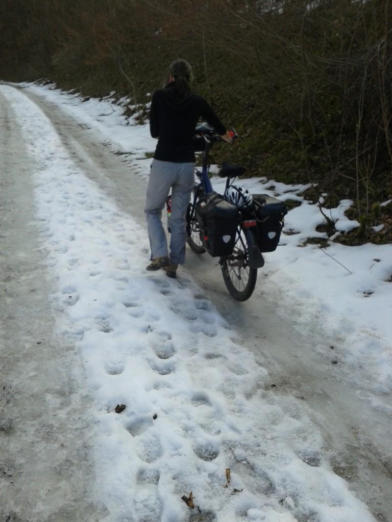 Snow on the Schwäbische Alb. We are almost at 800m.