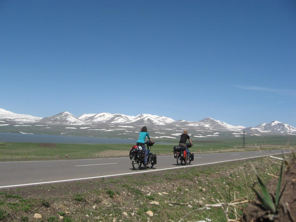 A rare image of both of us cycling at the same time. Taken at Lake Paravani (2100m)