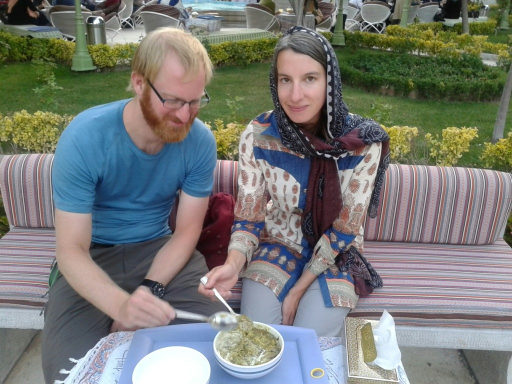 Eating persian soup in Isfahan