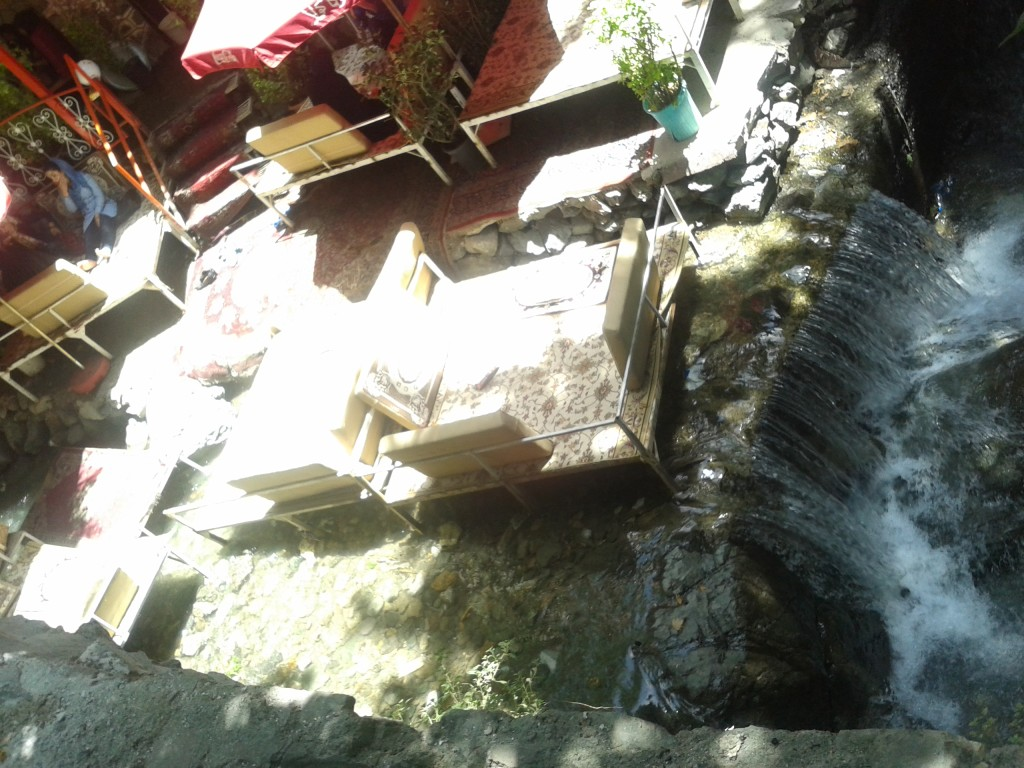 Darband cafes in the middle of the river
