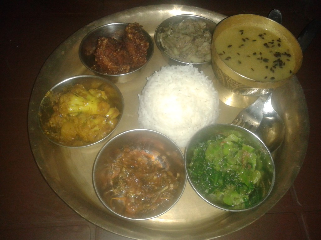 Probably the most perfecty arranged Dal Bhat we got served so far.