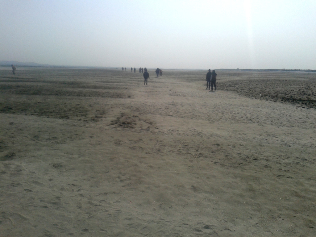 walking on the empty riverbed of Brahmaputra