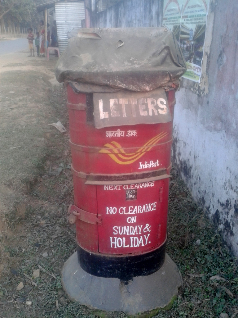 Postbox in Meghalaya. Put in two postcards here.