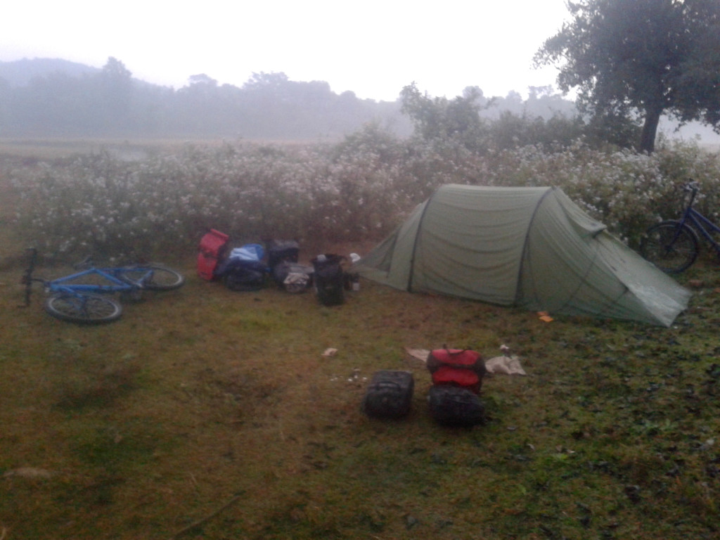Pitching the tent in Meghalaya, India