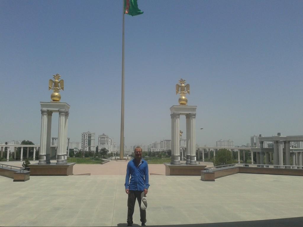 Huge flag pole in Ashgabat, Turkmenistan