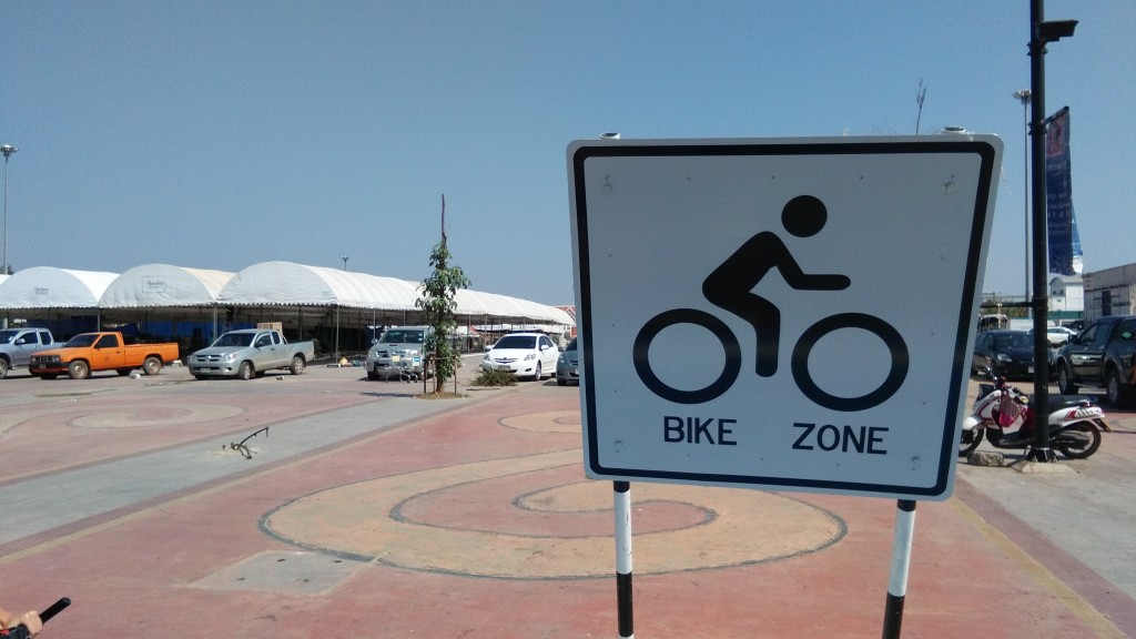 Pickup trucks, shopping malls, but also the first cycle route since we left Europe