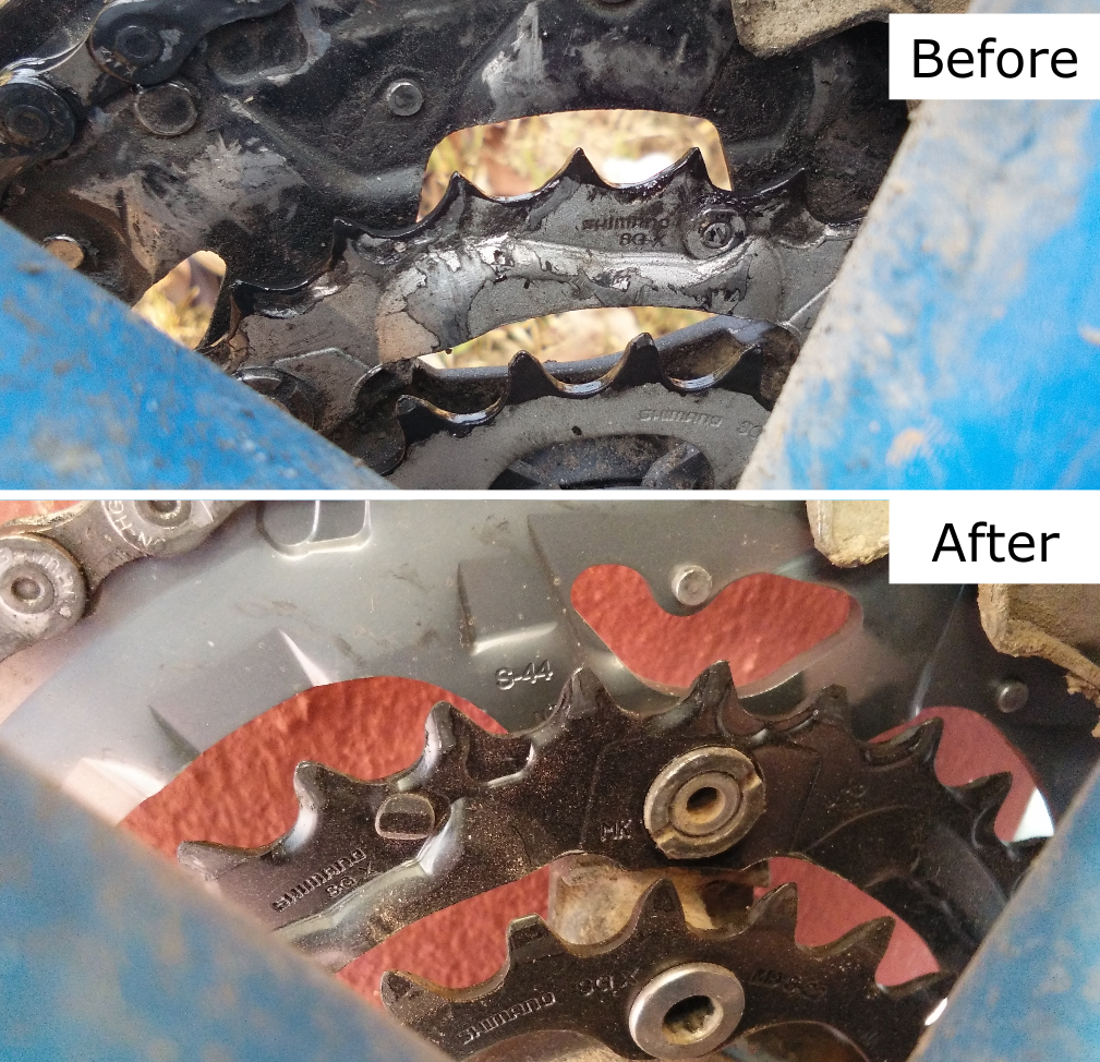Before and after. Have a look at the middle chain ring.