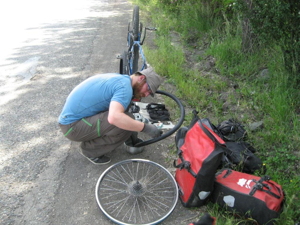 Fixing a flat tire, Armenia