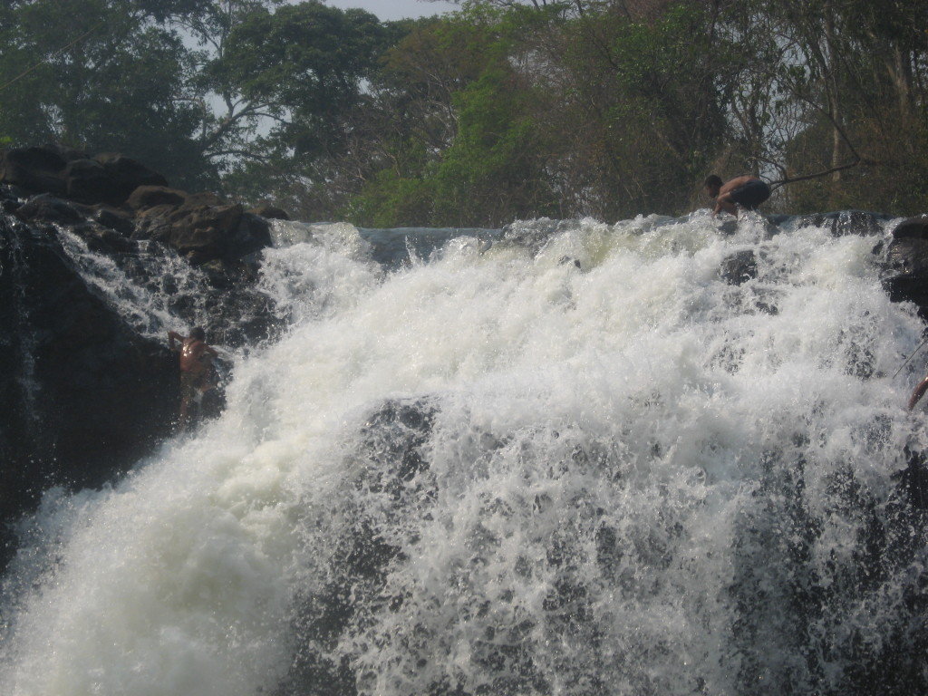 Waterfall at Tad Lo with crazy boys fishing