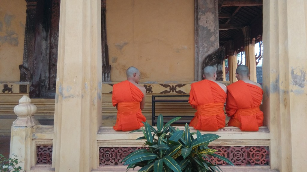 Monks at a temple in Vientiane, Laos