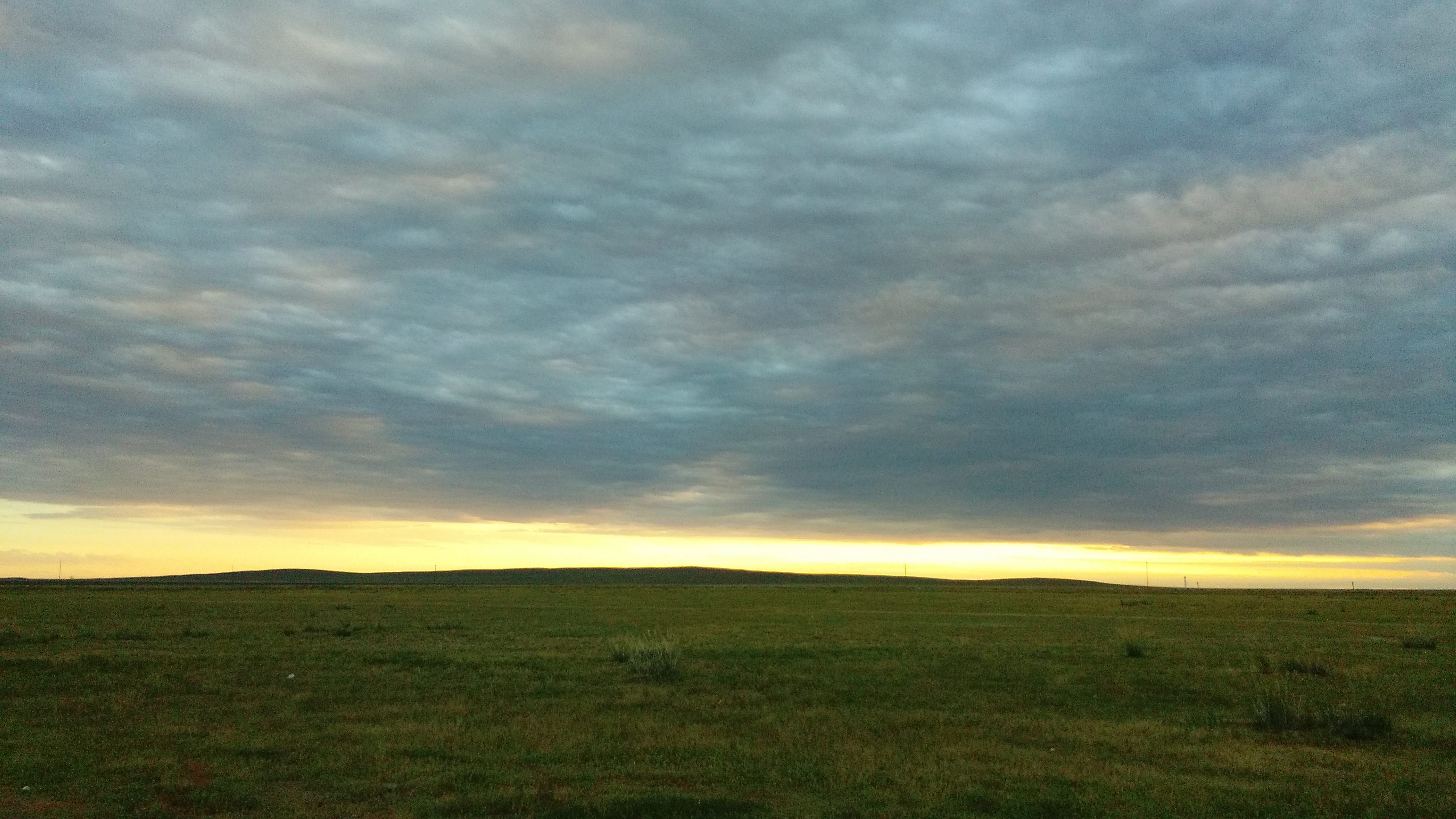 In the evening, where I pitched the tent. Grass is green.