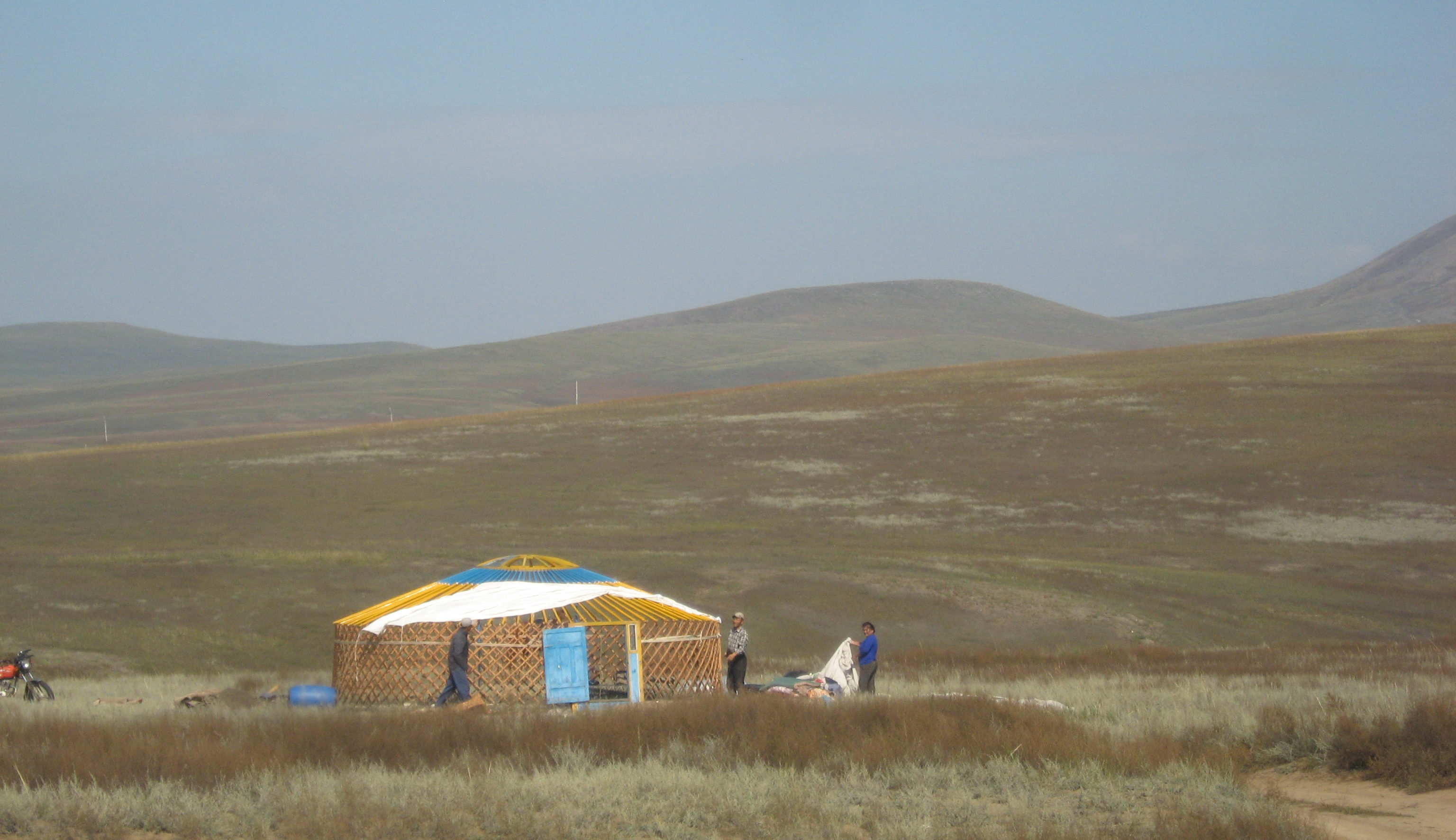 Mongols preparing for winter. The yurts gget disassembled