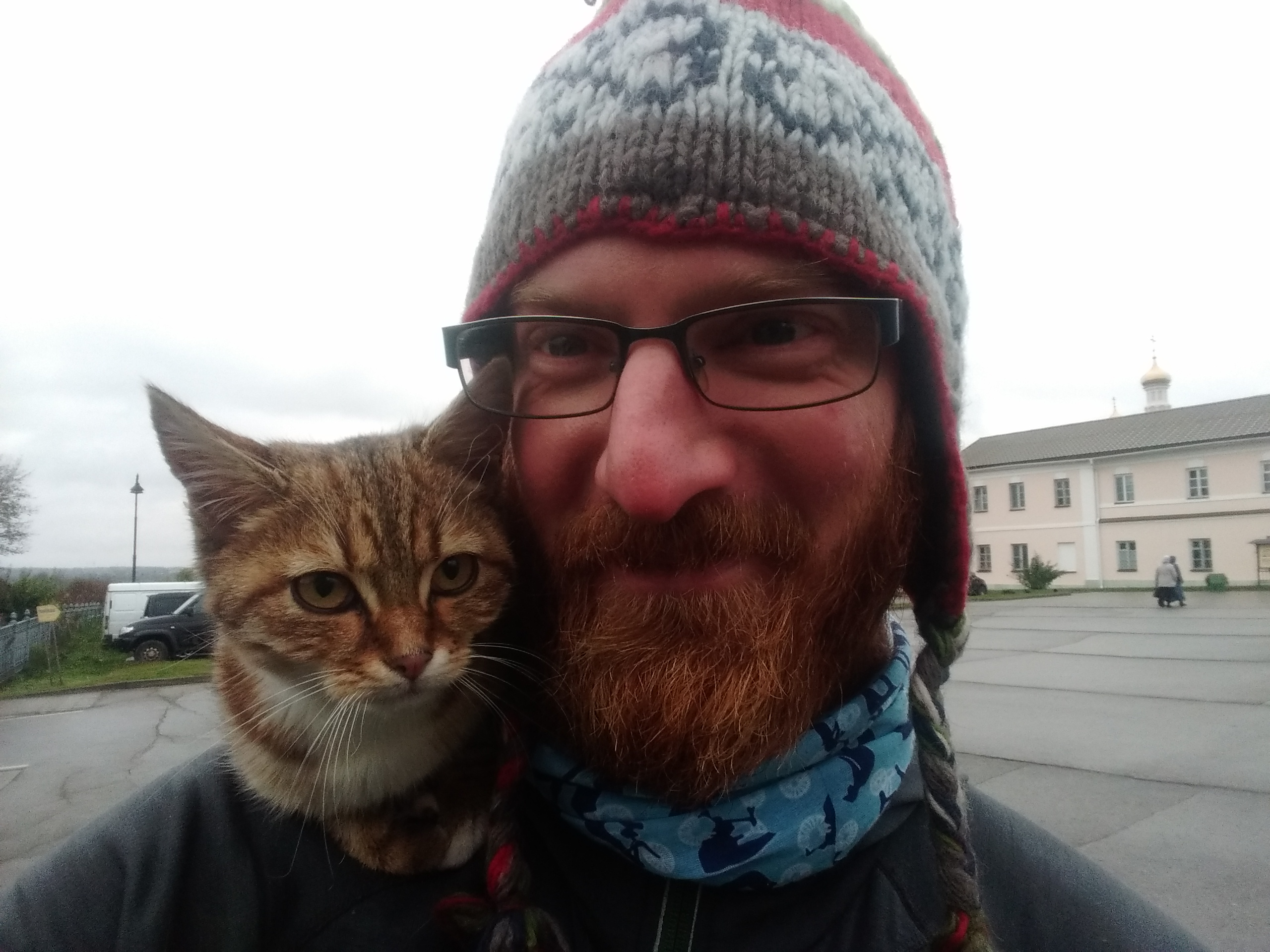 Cat at the monastery. She jumped on my back and didnt leave even when I started cycling